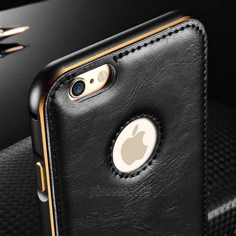 Leather Jete Iphone 6 5 5 luxury leather aluminum metal bumper frame cover for iphone 6 6s plus 5 5s ebay