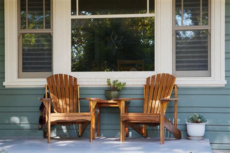 adirondack chairs porch stock image image  country