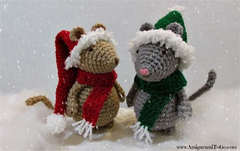 images of christmas mouse crochet christmas hat and scarf for mouse amigurumi to go