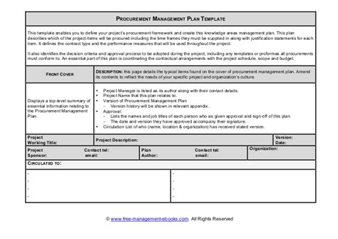 procurement management plan template doc fme procurement plan template