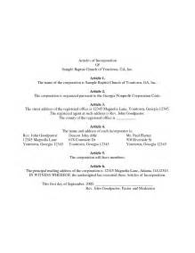 sample articles of incorporation company documents