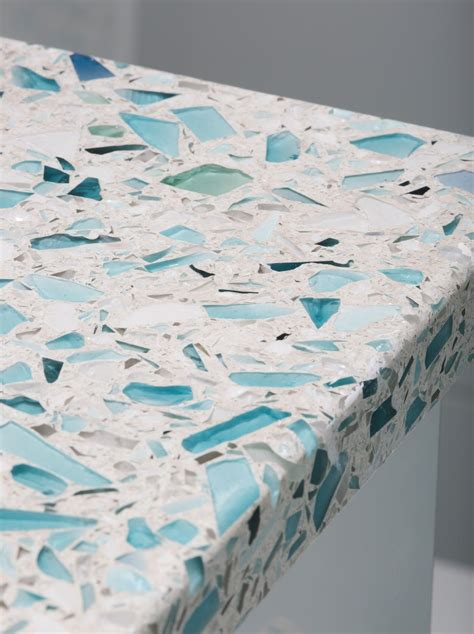 recycled glass countertops australia crushed glass countertop vetrazzo floating blue sea pearl