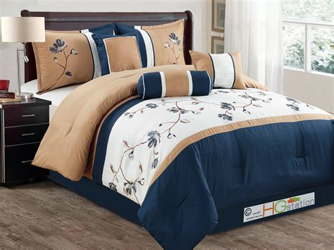 tan and white comforter set 7 pc floral vine blossom embroidery comforter set navy