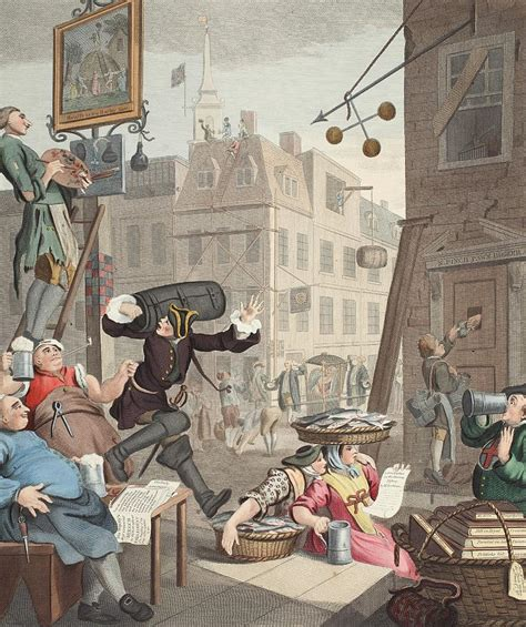 Duvet Pillow Beer Street Illustration From Hogarth Drawing By William