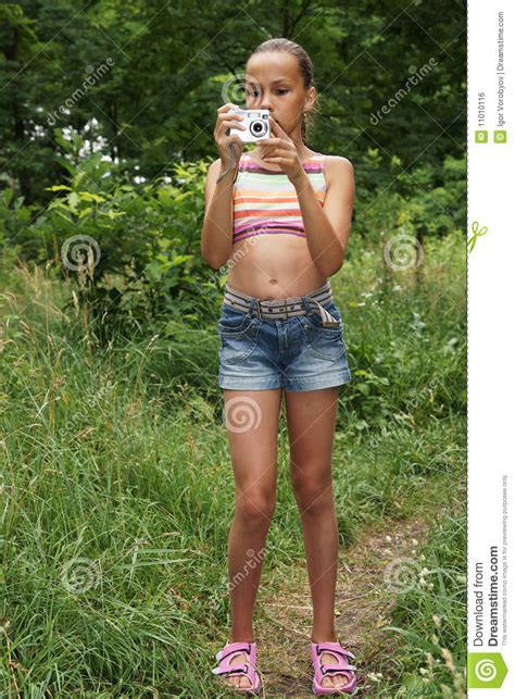girl preteen models preteen girl with digital camera royalty free stock image
