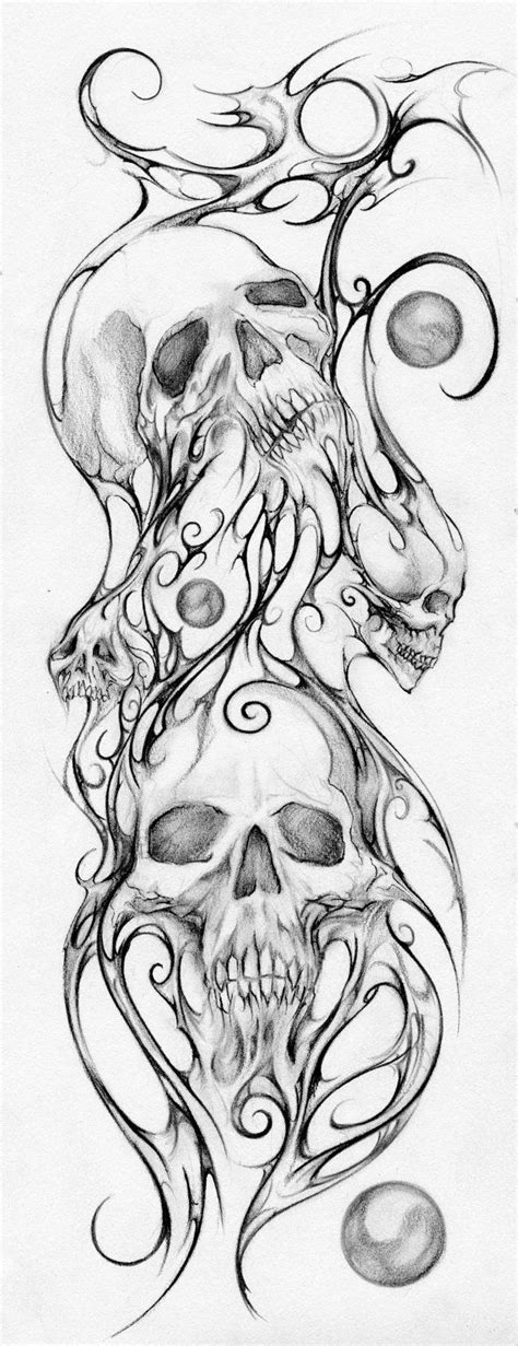 tattoo outline printer skulls print mixed media drawing by teresa by