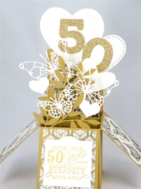 25th Wedding Anniversary Card Box by 3d Golden Wedding Anniversary Card Box Card With Hearts And