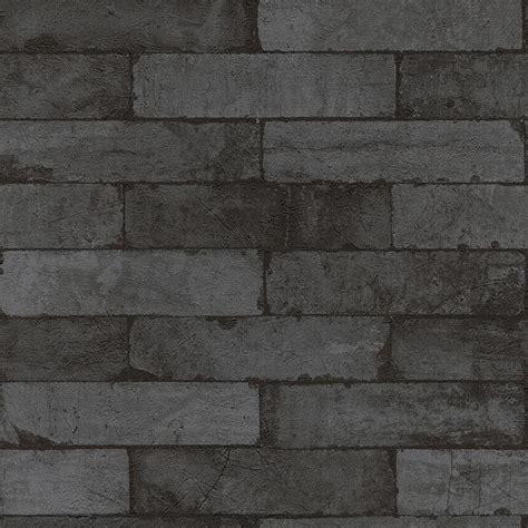 Washington Wallcoverings Black on Charcoal Gray Faux Brick