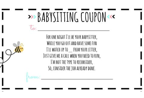 printable vouchers baby babysitting gift certificate beneficialholdings info