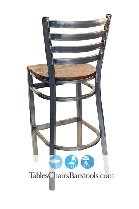 metal bar stool with wooden seat gladiator clear coat ladder back metal bar stool w