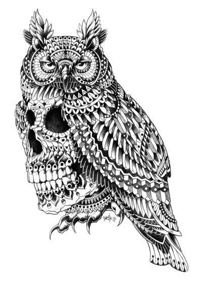 Great Horned Skull by BioWorkZ | Tatuagem de totem