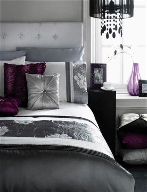 black gray and purple bedroom