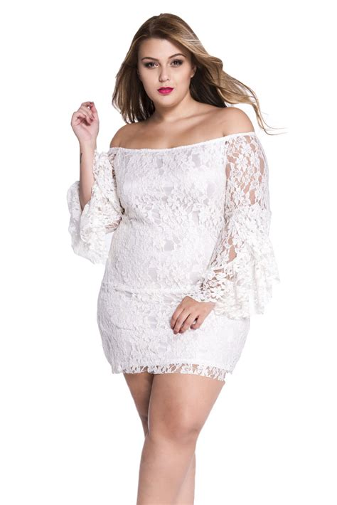 The Shoulder Lace Dress White plus size white lace shoulder mini dress summer