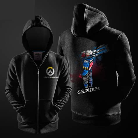 Zipper Hoodie Overwatch Brothersapparel 2 overwatch soldier 76 hoodie for boys black zip up sweater wishining