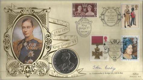 lt cdr john bridge gc gm rnvr at simons town lt cdr john bridge gc signed king george vi 1997 benham coin
