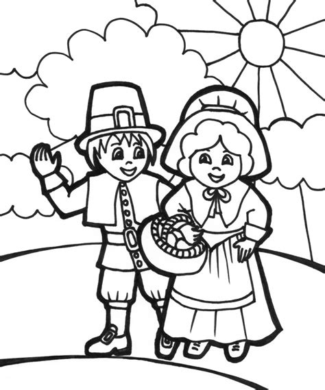 free coloring pages of cute pilgrims