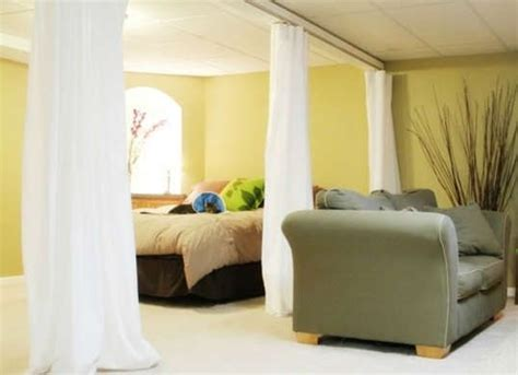 diy curtain room divider 12 finishing touches for your unfinished basement flats