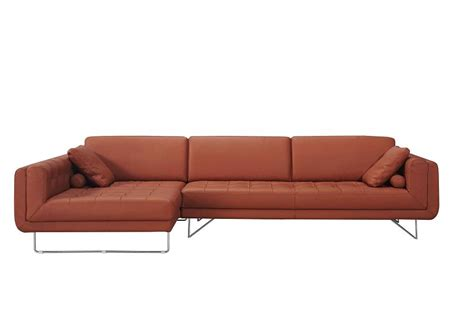 pumpkin italian leather sectional sofa with throw pillows