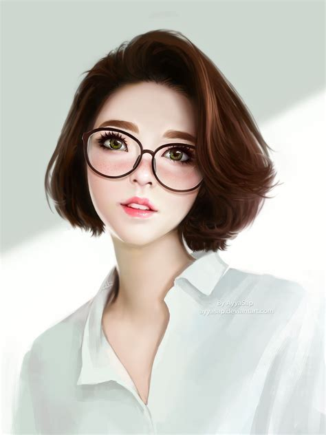 anime girl short hair wallpaper realistic anime girls glasses short wallpaper 4801