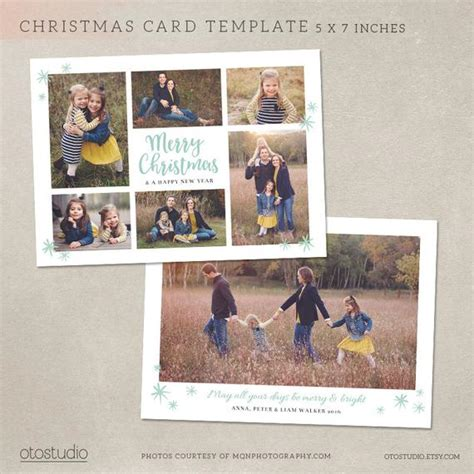 Items Similar To Christmas Card Template Photoshop Template 5x7 Flat Card Mint Collage Cc118 Card Collage Template