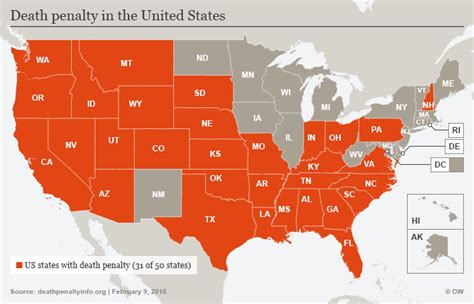 map of us states that the penalty penalty makes a comeback in us news dw 23 11 2016