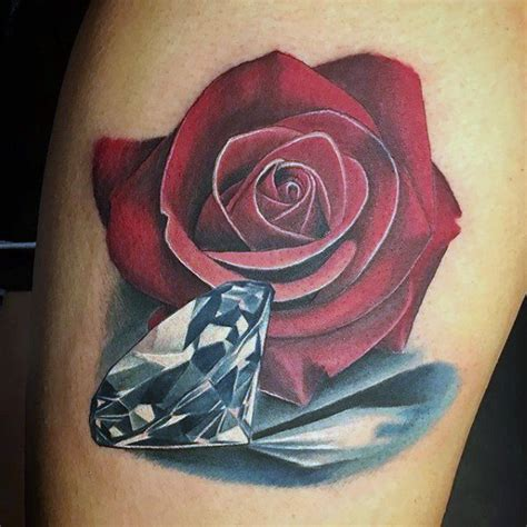 rose with diamond tattoo 70 designs for precious ink