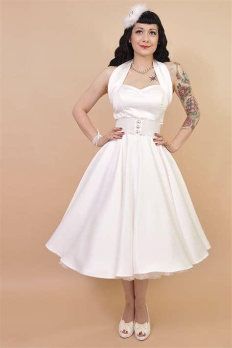 swing dress 50s 50s retro halter white satin swing dress bridesdress
