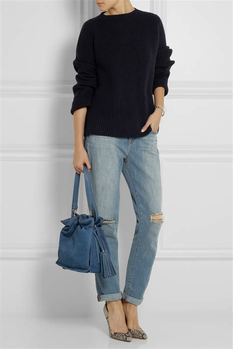 Shoulderbag Denim Onepiece loewe flamenco denimeffect suede shoulder bag in blue lyst