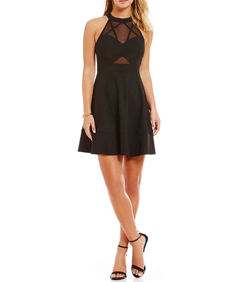 Dress Grey Ks honey and rosie high neck illusion cut out skater dress