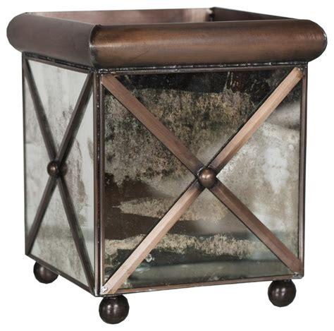 Mirrored Indoor Planters by Worlds Away Medium Crosshatch Antique Mirror Planter Amt11