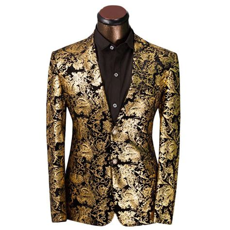 brown pattern suit 2018 luxury men suit golden floral pattern suit jacket men
