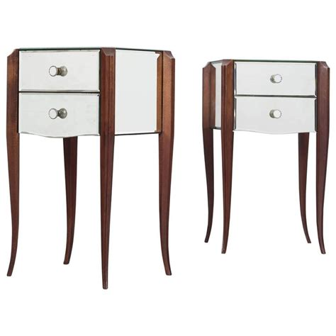 High Nightstand by Pair Of French Art Deco Mirrored Nightstands At 1stdibs