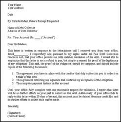 debt verification letter template letter template 2017