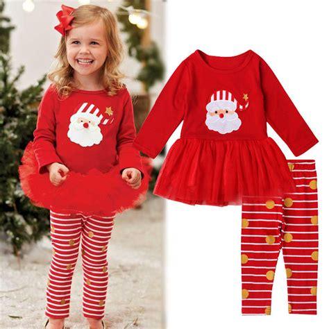Set Dress Kid Natal new 2016 baby clothing sets set tutu dress 2pcs casual clothes suit