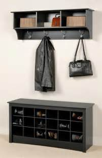 Entryway Storage Bench With Coat Rack Entryway Wall Mount Coat Rack W Shoe Storage Bench In Black Wall Mount Entryway And Storage