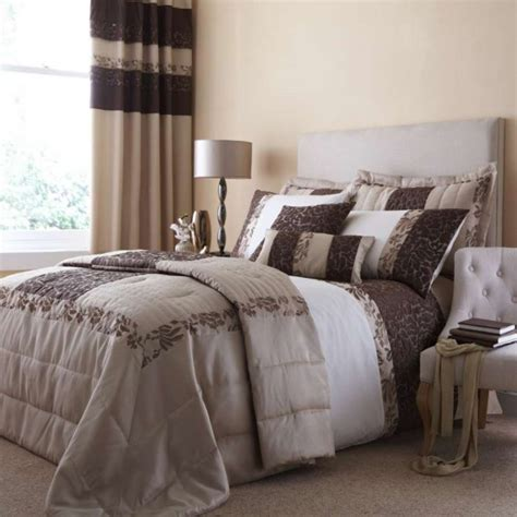 Curtain And Duvet Sets embroided quilted damask duvet quilt cover set curtains chocolate beige