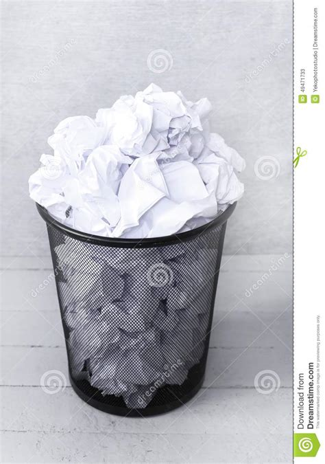 How To Make A Paper Trash Can - white paper in the trash can stock image image 49471733