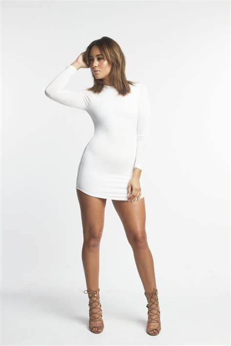 THE MYSTYLEMODE WHITE FUNNEL NECK LONG SLEEVE MINI DRESS