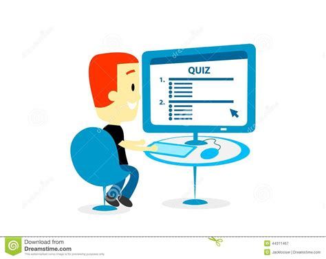 test computer taking a quiz on computer screen stock vector