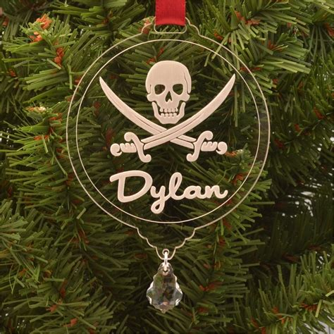 pirate ornaments personalized pirate skull ornament with
