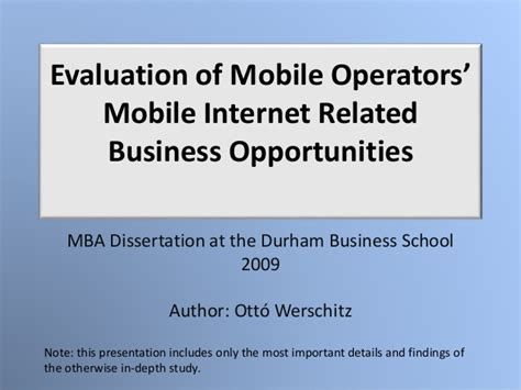 Net Mba by Ott 243 Werschitz Mba Dissertation Evaluation Of Mobile