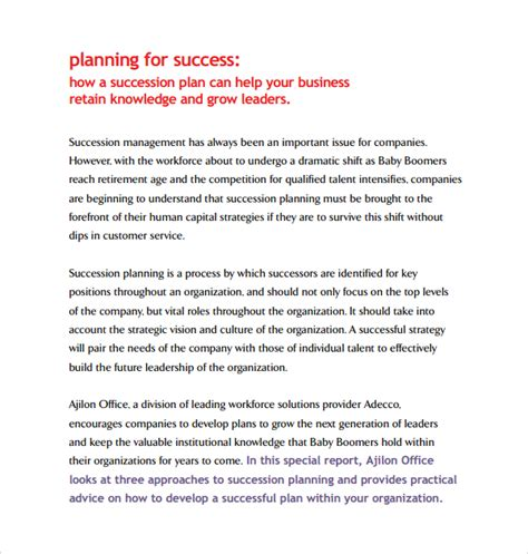 Sample Succession Planning Template   9  Free Documents in