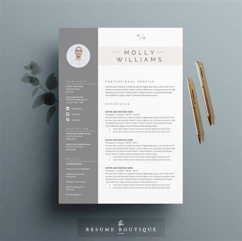 Cover Letter Template Etsy Resume Template And Cover Letter Template For By Theresumeboutique