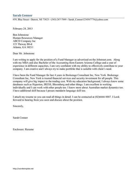 cover letter for fundraising fund manager cover letter template free microsoft word