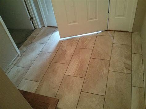 Herringbone Tile Floor Kitchen - 12x24 porcelain tile basement entry and hallway good morning flooring