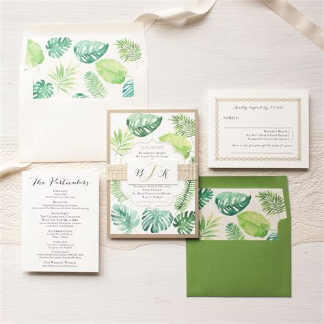 Wedding Invitations Green by Tropical Green Destination Wedding Invitations Beacon