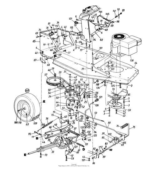 cub cadet lawn mower parts diagrams mtd 134h471f190 38 quot lawn tractor l 12 1994 parts diagram