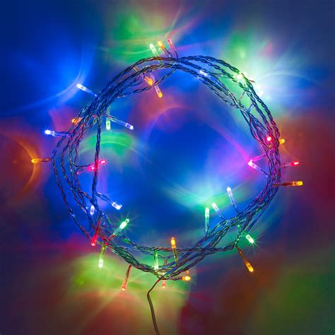 40 Multi Coloured Led Indoor Fairy Lights On Clear Cable Multi Coloured Led Lights