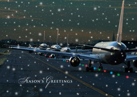 multiple planes christmas card airline or airplane