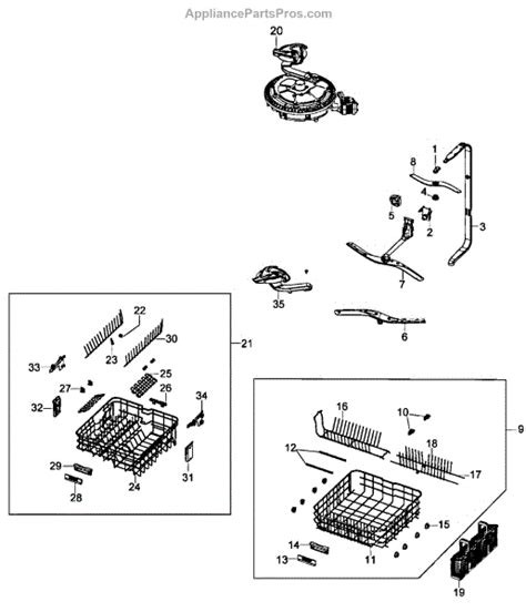 samsung dishwasher parts diagram parts for samsung dmt800rhw xaa wash assy parts